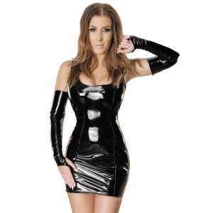 ledapol 1460 vinyl mini klänning - lackkorta klänning fetish