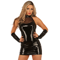 ledapol 1277 vinyl mini dress - patent short dress fetish