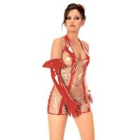 ledapol 1525 vinyl mini klänning - korta lack klänning fetish