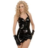ledapol 1605 vinyl mini dress - patent short dress fetish