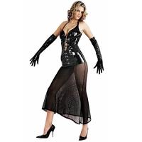 ledapol 1622 vinyl klänning - lack långa klänning fetish