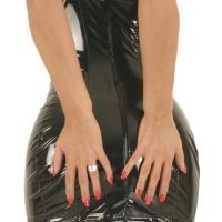 ledapol 1686 vinyl mini klänning - korta lack klänning fetish