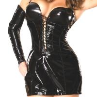 ledapol 1736 vinyl mini klänning - lackkorta klänning fetish