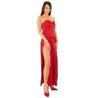 ledapol 3067 långa klänning - satin klänning - fetish korsettklänning