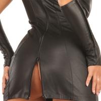 ledapol 5253 läder miniklänning - korta klänningar