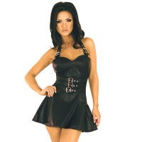 ledapol 5576 leather mini dress - womens short dress